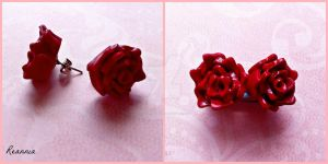 Red Rose Earrings by Rhiannon-San