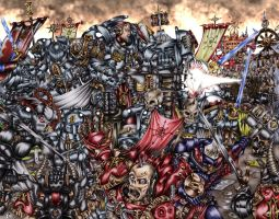 Warhammer 40K: Grey Knights vs. Chaos by hairywookiee
