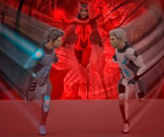 Quick Silver and Scarlet 2nd skin text x M4 e V4 by hiram67