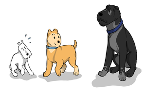 Tintin, Haddock and Snowy by aWildBowTie