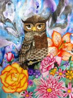 Owl and flower contrast by AmyLou31