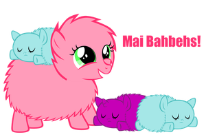A Fluffy Mama and Her Foals by Bronyboy