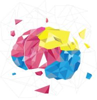 CMYK Vector Cubed Brain by CSGMotions
