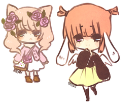 soft colour paper chibis by onisuu