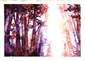 watercolors practise - forest by P4M