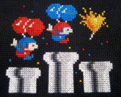 Balloon Fight by GamingBitCrossStitch