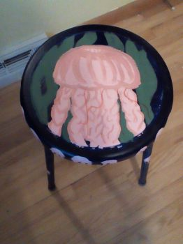 Jellyfish (painted stool) by AudreyJoanS63
