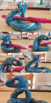 polymer clay - 3 eyed snake by wolfymaples