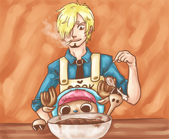 chopper + sanji by whinge
