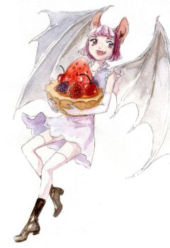 Bat-girl with fruits - painted by MeiMei-KaiTen