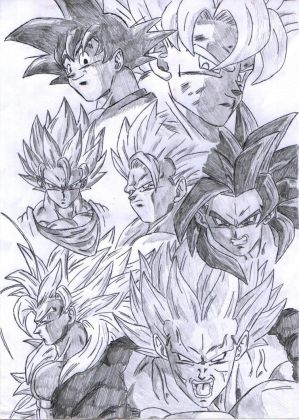 Super Saiyan All. drawing goku. Vegito.