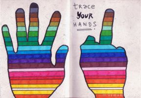 Art Journal - Traced Hands by isnani