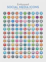 120 Embossed Free Social Media Icons by Designbolts