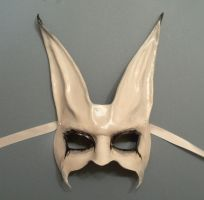 Freaky Rabbit leather Mask spooky white grey blk by teonova