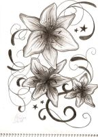 Lily and Stars Tattoo tribal by ashleapoole