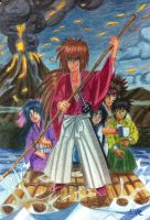 kenshin and his partner across to the vocano by eve1789