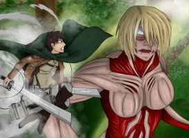Eren VS The Female Titan by MLJ-Lucarias