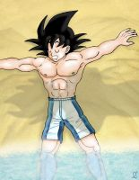 Goku naps on the beach by Moonsylver