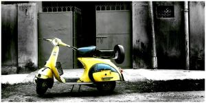 Yellow Scooter by Ashesh