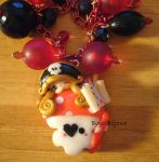 Necklace 'Piratess on skully' by Bojo-Bijoux