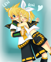 Rin and Len -Hug- by Na-Nami