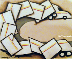 abstract cubism semi truck painting by TOMMERVIK