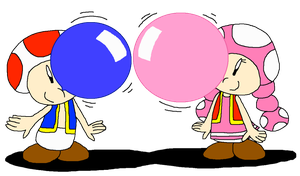 Toad and Toadette Bubble Gum Fan by PokeGirlRULES