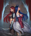 Katarina x Ahri by sinceillust