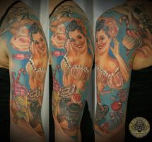 Pin up candy girly skull fin by 2Face-Tattoo