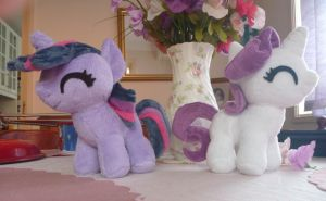 MLP: Twilight and Rarity Filly Plushies by ChibiTigre