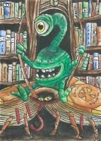 Bookling ~ The City of Dreaming Books ACEO by FeanorFeuergeist