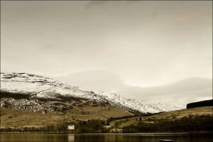 Loch Earn With Edinample Castle As Night Is Coming by tamaskatai