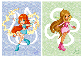 Chibi Magic Winx: Flora and Bloom by fiorei