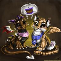 Dragons and Big Cats by latent-ookami