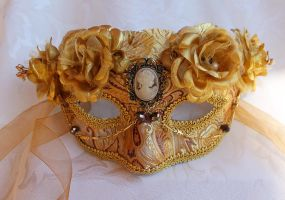 Gold Masquerade Mask With Cameo by DaraGallery