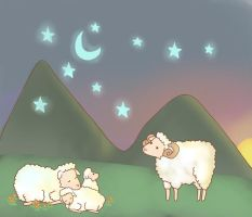 Sheep under the stars by Antyalan1