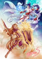 Ahri and Leona lol poster by TORN-S