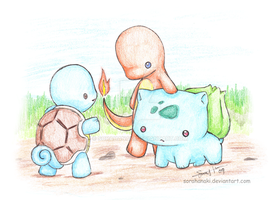 Starter Pokemon - gen 1 by sorahanaki