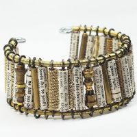 Paper Bead Jewelry- Brass and French Bead Bracelet by Tanith-Rohe