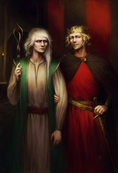 Merlin and king Arthur by KarlaFrazetty