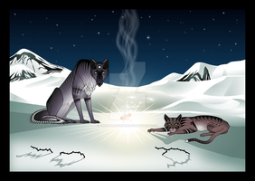 Wolf, Cat and the Sky-thing by sibelian