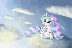 Celestia on cloud by Oggynka