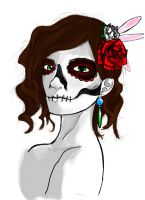 Skull and Flowers by MachineRule