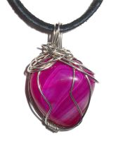 Wire Wrapped Pink Agate by ChibiKinesis