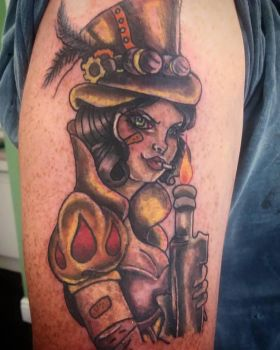 Snow white mix Tank girl steam punk tattoo by MissMisfit13