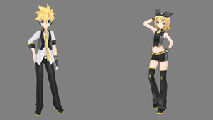 Blue Moon Len + Black Star Rin by XDONOTENTERX