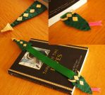 Bookwyrm bookmark- dark green and tan by WhimsicalSquidCo