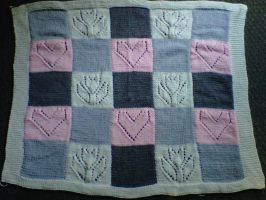 Tulip and Hearts baby blanket by crochetamommy