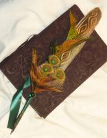 Phoenix of Life - handpainted Featherquill by Ganjamira