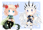 COMMISSION Tiny Chibi : Thian and Balder by RenAyumeDeer